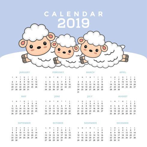 Kalender 2019 med söt fårtecknad. vektor