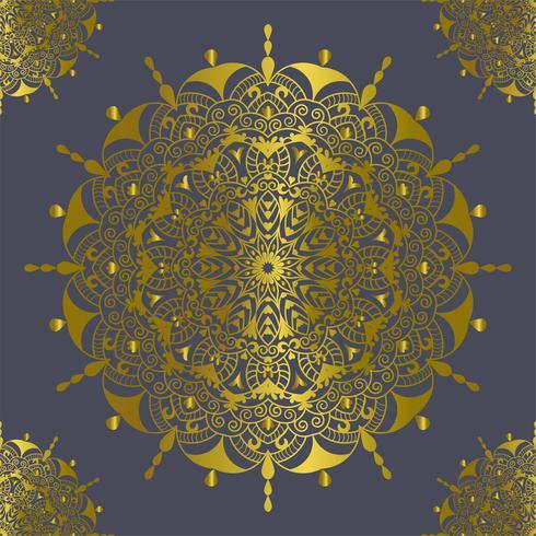 Mandalaweinlesedekorationselementgoldfarbvektorillustration vektor
