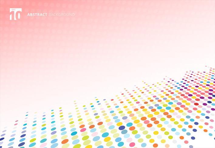 Abstrakte bunte Halbtonbeschaffenheitspunkt-Musterperspektive auf rosa Tupfenhintergrund. vektor