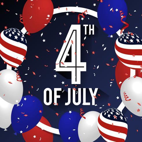 4. Juli Feier Hintergrunddesign mit Ballon und Bändern. vektor