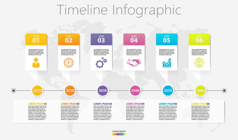 Präsentationsvorlage Business Infografik mit 6 Optionen. vektor