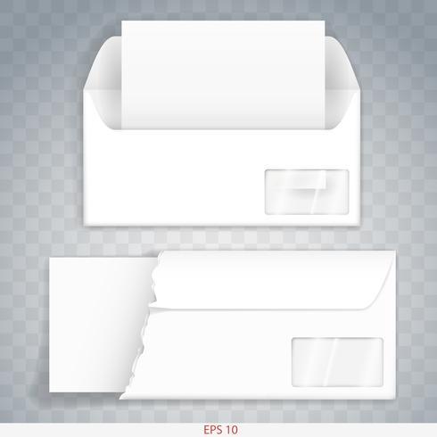 Umschlag aus Papier oder Pappe innen und außen. Vorlage. Vektorgrafiken vektor