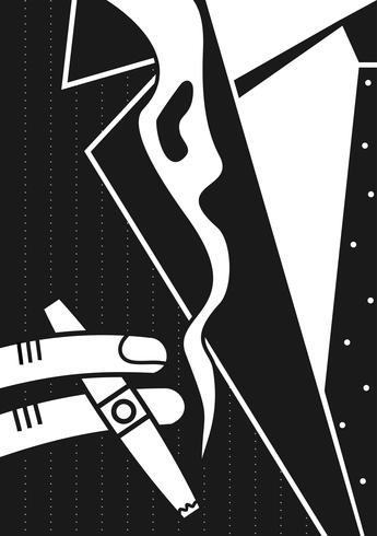 Poster en man och en cigarr. Vägg målning. Sticker. Vektorgrafik vektor