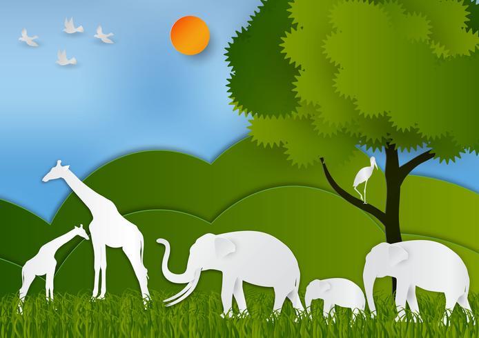 Papper konst stil Landskap med djur och träd I naturen rädda världen och ekologi idé abstrakt bakgrund, vektor illustration