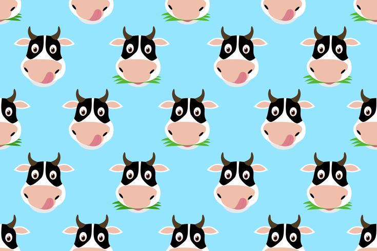 Seamless mönster av tecknad gullig ko på blå bakgrund vektor