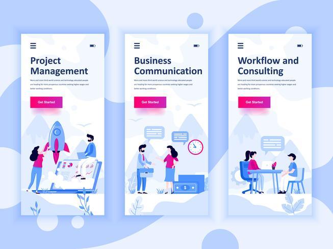 Satz von Onboarding-Bildschirmen User Interface Kit für Management, Kommunikation, Workflow, mobile App Vorlagen-Konzept. Moderner UX-, UI-Bildschirm für mobile oder reaktionsschnelle Websites. Vektor-illustration vektor