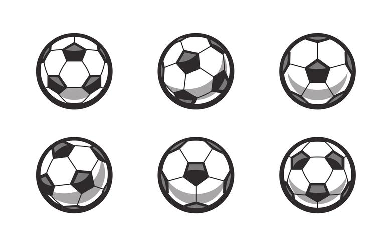 Set med Retro Vector Soccer Balls