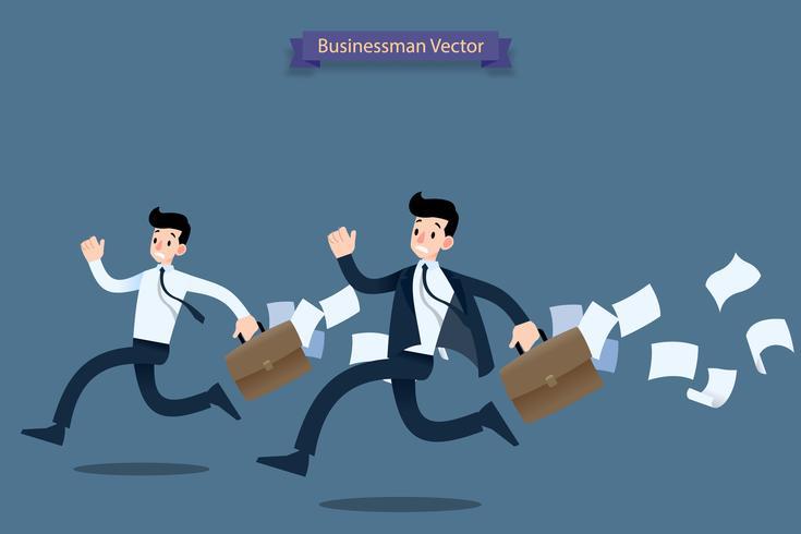 Affärsman rusar i arbetet sent med resväska och fallande papper bakom och känner sig väldigt upptagen. vektor
