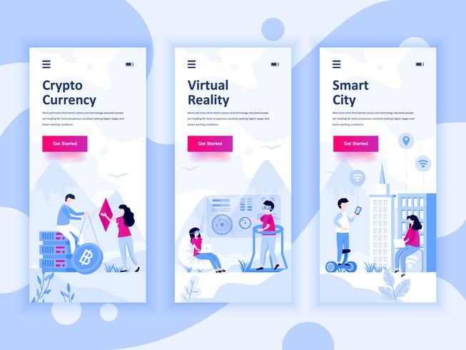 Satz des Onboarding-Bildschirm-Benutzerschnittstellensatzes für Kryptowährung, intelligente Stadt, virtuelle Realität, bewegliches APP-Schablonenkonzept. Moderner UX-, UI-Bildschirm für mobile oder reaktionsschnelle Websites. Vektor-illustration vektor