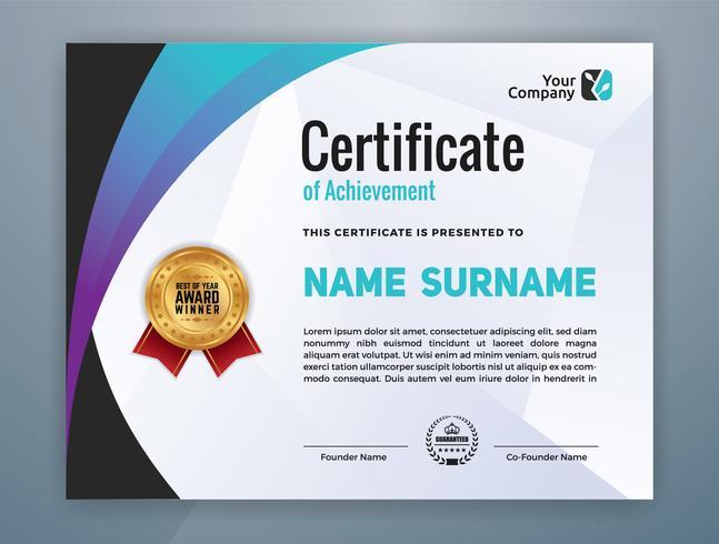 multifunktionella moderna professionella certifikatmall vektor