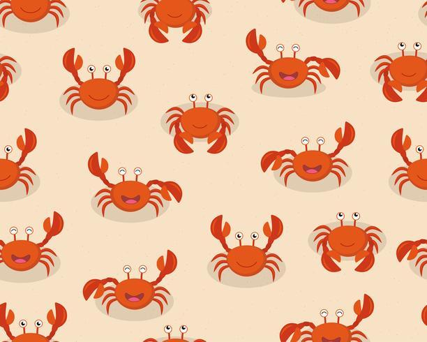 Seamless mönster av söta tecknade röda krabbor på stranden bakgrund - Vektor illustration