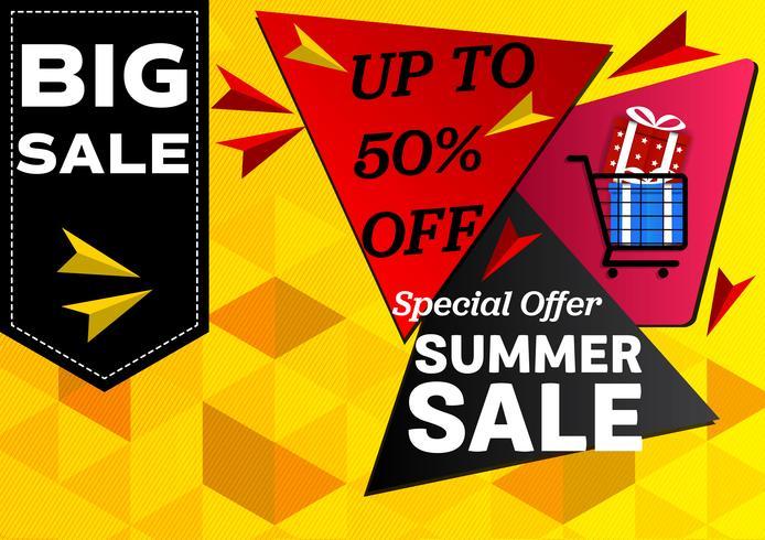 Banner sommarförsäljning specialerbjudanden. geometrisk abstrakt vektor bakgrundsdesignkoncept.