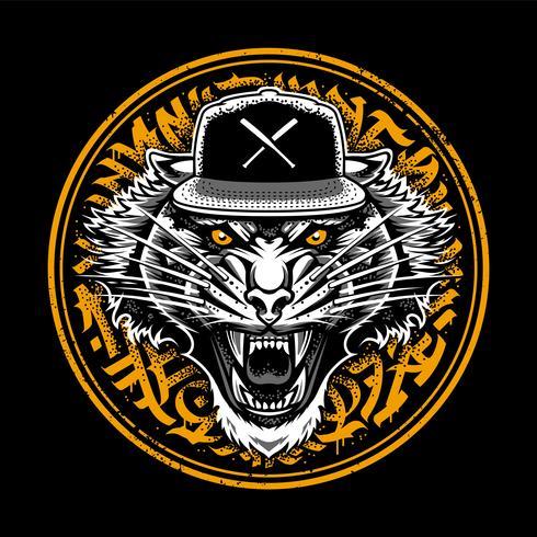 Roaring Tiger i Snapback med Graffiti vektor