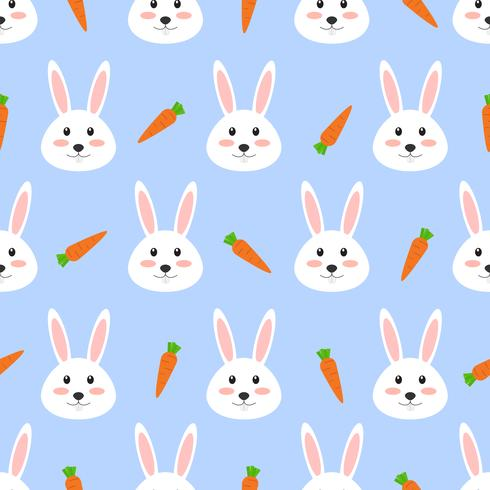 Nahtloses Muster des netten weißen Kaninchens mit Karotte auf weißem Hintergrund - Vector Illustration