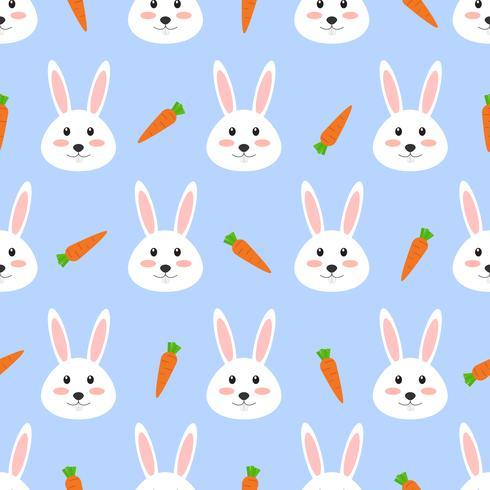 Seamless mönster av söt vit kanin med morot på vit bakgrund - Vektor illustration