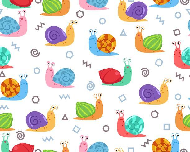 Seamless mönster av söt snigel med doodle geometrisk form på bakgrunden - Vektor illustration