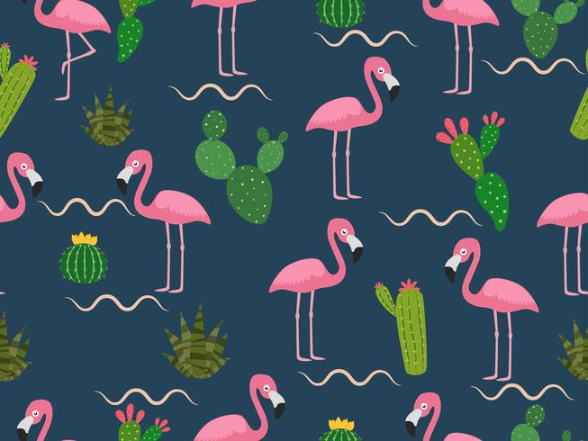 Seamless mönster av rosa flamingo med tropisk kaktus på mörk bakgrund - vektor illustration