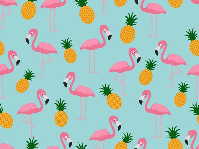 Seamless mönster av flamingo med ananas på pastellbakgrund - Vektor illustration
