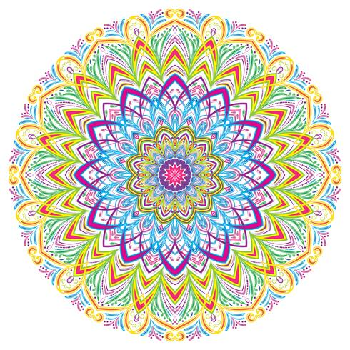 Färgglada Mandala Vintage dekorativa element, vektor illustration.