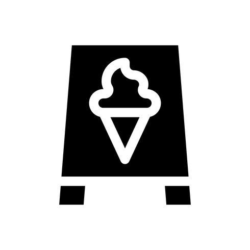Eiscremezeichen-Vektorillustration, feste Artikone vektor