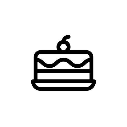 Glass tårta vektor illustration, godis linje stil ikon