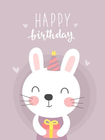 Gullig kaninfödelsedag hälsningskort vektor