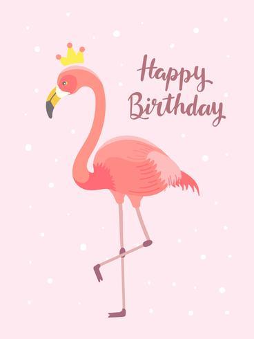 Flamingo födelsedag hälsningskort vektor
