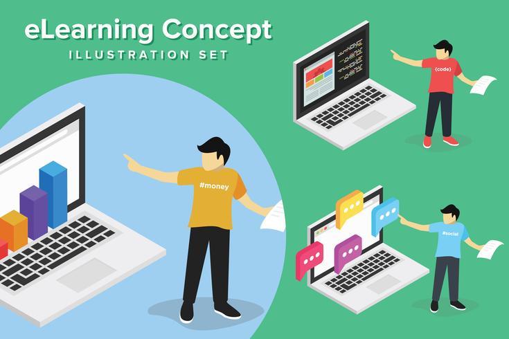 Webinar koncept, webbutveckling online utbildning, utbildning på dator, e lärande arbetsplats vektor