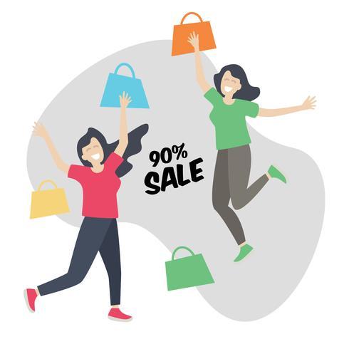 Shopping Girl Happy und Jump, Discount Sale vektor