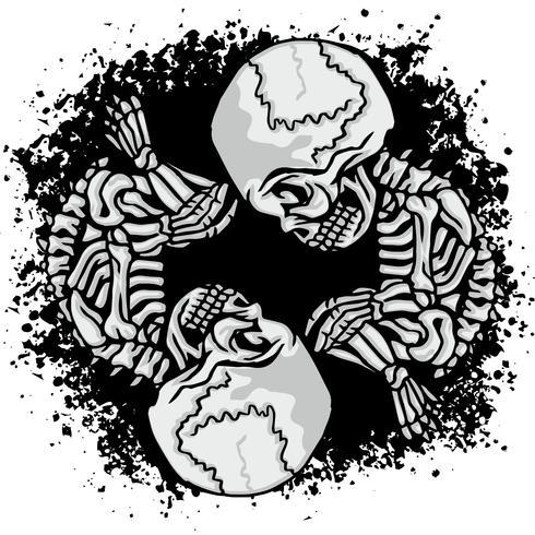 grunge skalle vapensköld vektor