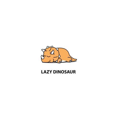 Lazy dinosaur, söt triceratops sovande ikon vektor