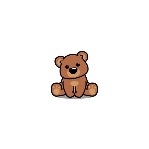 Söt björn sitter, vektor illustration