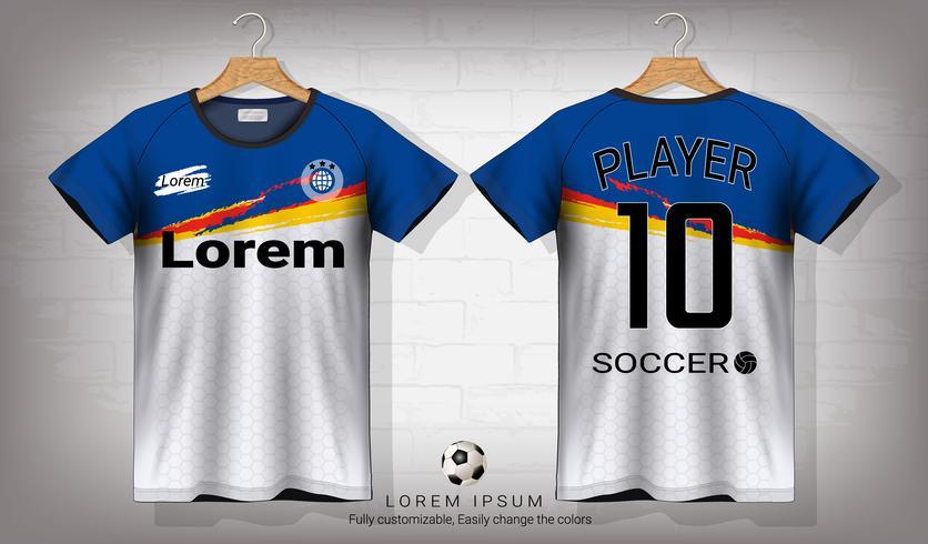 Fotbollströja och t-shirt sportmockupmall, Grafisk design för fotbollsutrustning eller aktiva uniformer. vektor