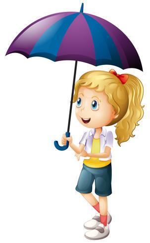 Glad tjej som håller paraply vektor