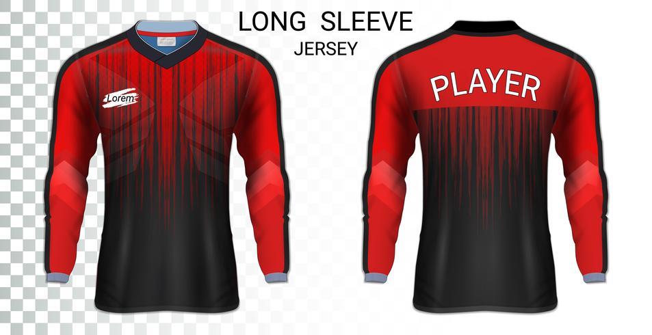 Langärmlige Fußballtrikott-shirts Modellschablone, Grafikdesign für Fußballuniformen. vektor