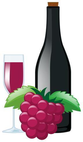 Färska druvor och juice i flaska vektor