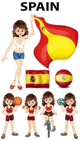 Spansk tjej och många sporter vektor