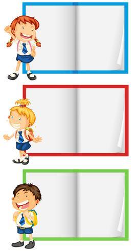 En uppsättning student och anteckningsbok vektor
