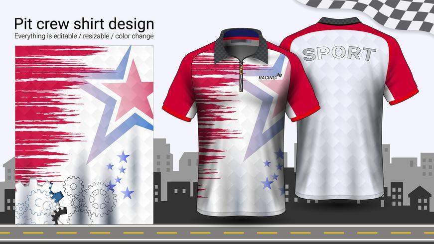 Polo t-shirt med dragkedja, Racing uniformer mockup mall för aktivt slitage och sportkläder. vektor