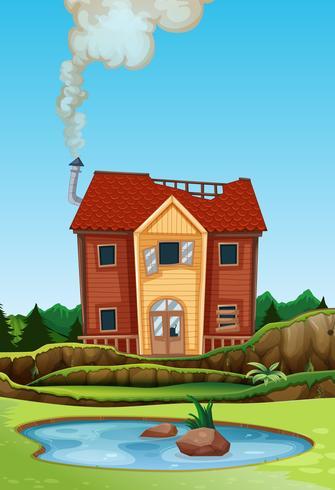 Ett gammalt hus i landsbygden vektor