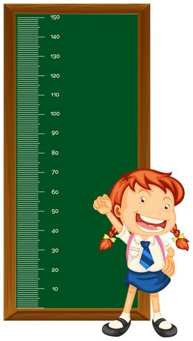 Höjdmätningsdiagram med liten tjej vektor