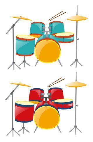 Zwei Sets Schlagzeug in Blau und Rot vektor