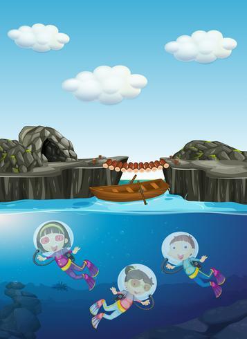 Barn dykning under vattnet vektor
