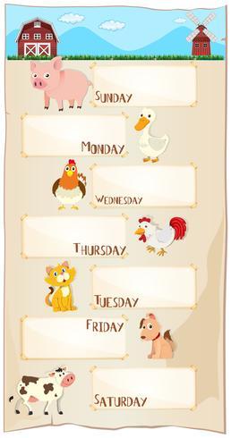 Dagar i veckan affisch med husdjur vektor