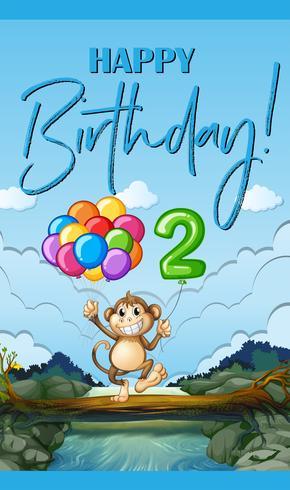 Alles Gute zum Geburtstagkarte mit Affen und Ballon für zwei Jährige vektor