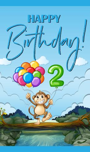 Grattis på födelsedagskort med apa och ballong för två år gammal vektor