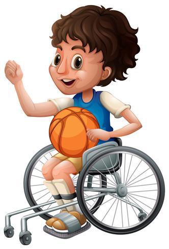 Junge im Rollstuhl, der Basketball spielt vektor