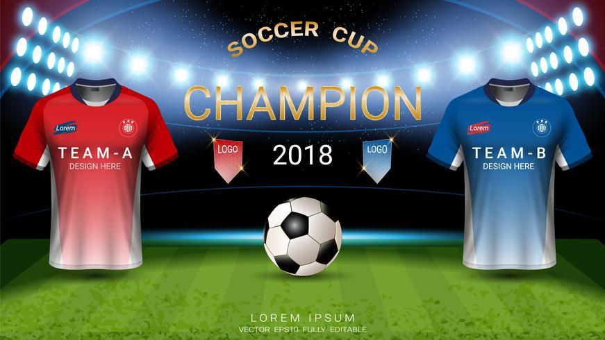 Weltmeisterschaftsfußballcup templat, abschließendes Match-gewinnendes Konzept. vektor