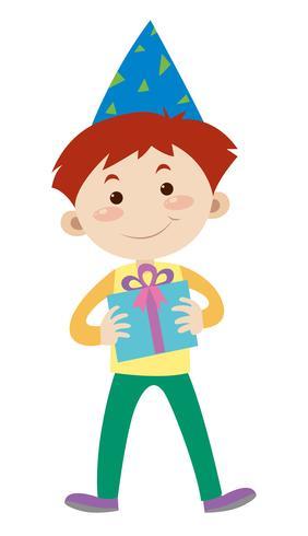 Glad pojke med födelsedagspresent vektor