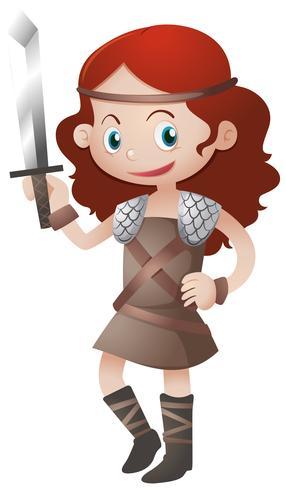 Kvinnlig krigare med svärd vektor